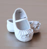 L'Amour Infant Girls White Ruffle Mary Jane Crib Shoe