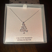 Load image into Gallery viewer, Sterling Silver Diamond Christmas Tree Necklace