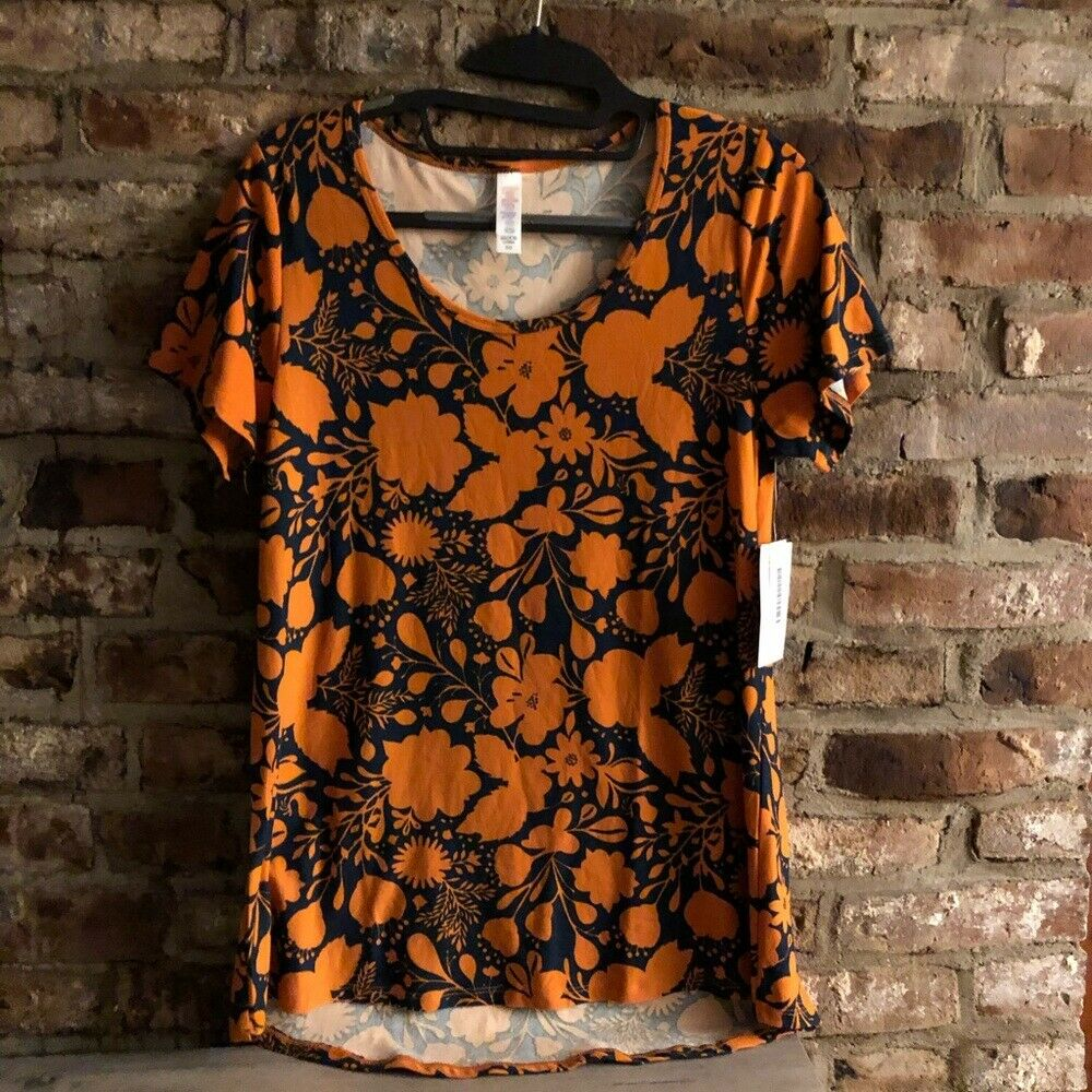 LuLaRoe Orange and Navy High Low Top