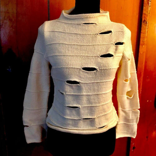 Beautiful Handmade Distressed Turtleneck Sweater - Pale Ale Boutique