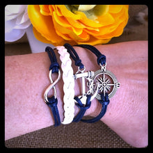 Load image into Gallery viewer, Nautical Leather Charm Bracelet - Pale Ale Boutique