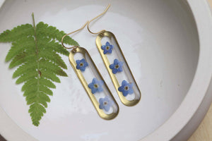 Forget me not on brass dangle earrings