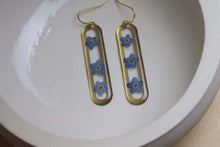 Load image into Gallery viewer, Forget me not on brass dangle earrings