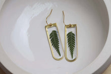 Load image into Gallery viewer, Heather Fern on Brass Earrings - 1 1/2""