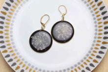 Load image into Gallery viewer, Black Queen Anne's Lace Earrings