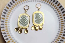 Load image into Gallery viewer, Fern and Textured Brass Chandelier Earrings