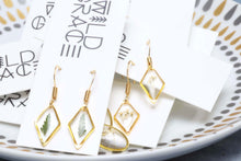 Load image into Gallery viewer, Tiny gold botanical fern diamond dangle earrings