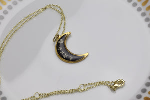 Crescent Moon Flower Necklaces - Black and Clear options