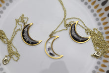 Load image into Gallery viewer, Crescent Moon Flower Necklaces - Black and Clear options