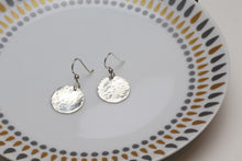Load image into Gallery viewer, Hammered sterling silver disc earrings
