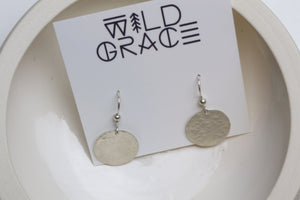Hammered sterling silver disc earrings