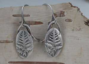 Western Bracken Fern Silver Earrings