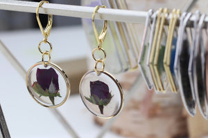 Tiny Rosebud Gold Plated Earrings
