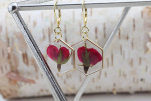 Rose Hexagon Gold Plated Earrings