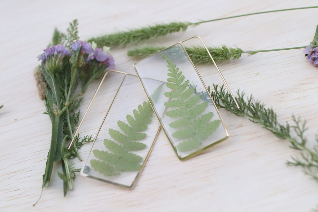 Fern Earrings Unique Large Rectangle
