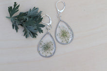 Load image into Gallery viewer, Queen Anne's Lace silver teardrop dangle earrings