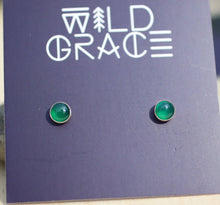 Load image into Gallery viewer, Green onyx silver stud earrings