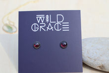 Load image into Gallery viewer, Garnet silver stud earrings