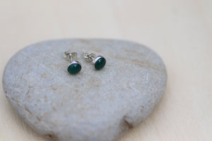 Green onyx silver stud earrings
