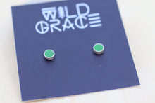 Load image into Gallery viewer, Grass green silver stud earrings