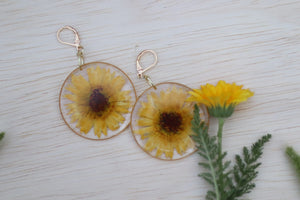 Large Yellow Calendula Flower Botanical Earrings