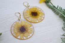 Load image into Gallery viewer, Large Yellow Calendula Flower Botanical Earrings