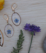 Load image into Gallery viewer, Forget me not flower gold oval dainty dangle earrings