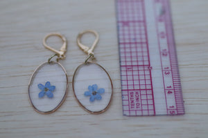 Forget me not flower gold oval dainty dangle earrings