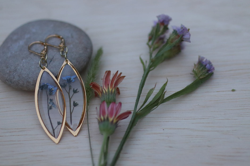 Forget me not flower gold marquise dangle earrings