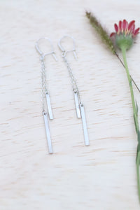 Silver bar and chain drop earrings