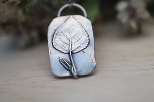 Aspen Leaf Silver Pendant and Necklace