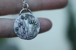 Grass Vignette Silver Pendant and Necklace