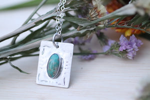 Nacozari turquoise thick rectangle necklace