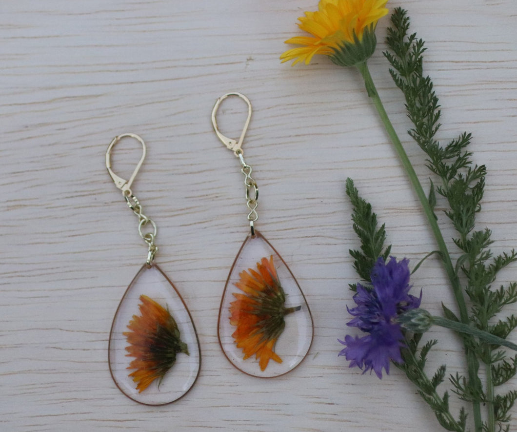 Calendula teardrop dangle earrings