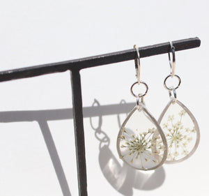 Queen Anne's Lace silver teardrop dangle earrings