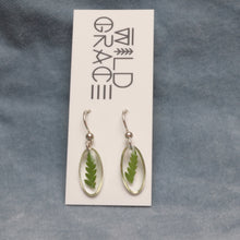Load image into Gallery viewer, Tiny fern silver oval dangle earrings - sterling silver backs
