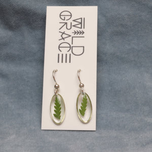 Tiny fern silver oval dangle earrings - sterling silver backs