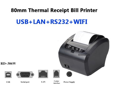 High Quality 80mm Thermal Receipt Printer Auto cutter Bill printer WIFI/Bluetooth/USB/LAN/RS232 Kitchen Restaurant POS printer