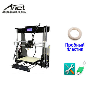 Anet A8 Prusa i3 reprap 3d printer/ 8GB SD PLA plastic as gifts/ express shipping from Moscow Russian warehouse