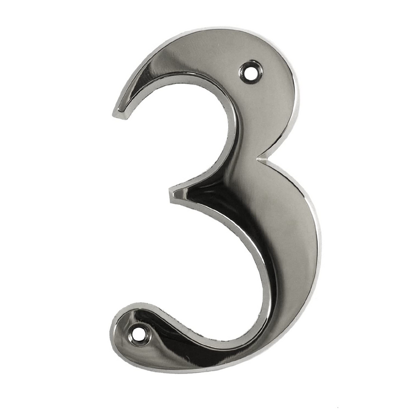House Door Numerals Numbers - Chrome Number 3