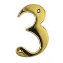 House Door Numerals Numbers - Gold Number 3