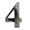 House Door Numerals Numbers - Chrome Number 4