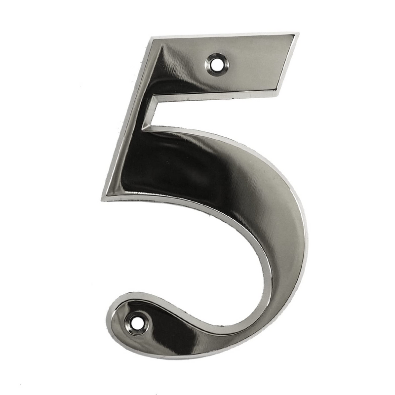 House Door Numerals Numbers - Chrome Number 5
