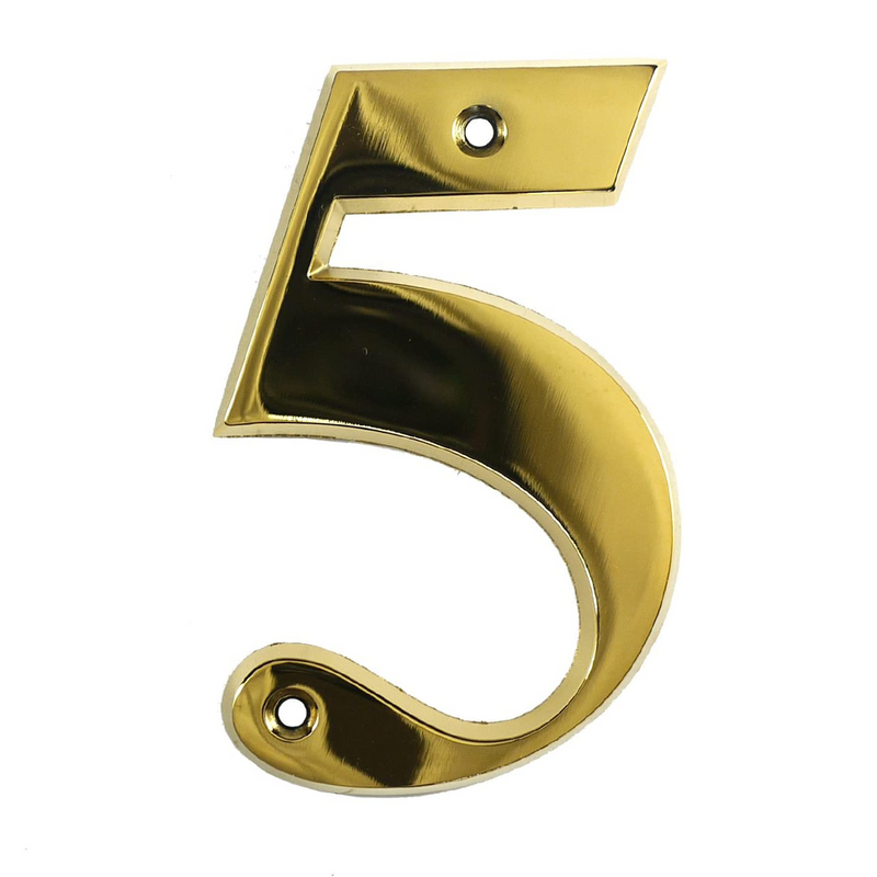 House Door Numerals Numbers - Gold Number 5