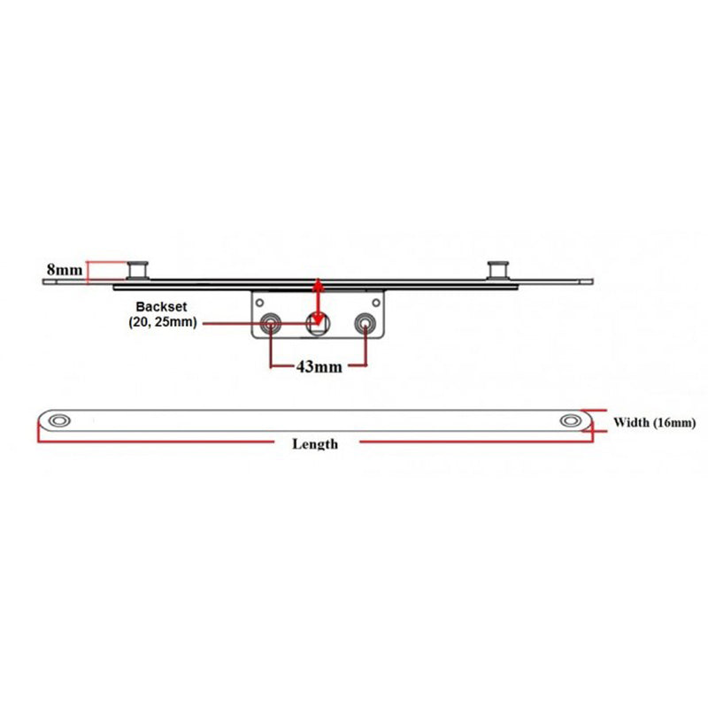 UPVC Window Lock - Offset Espag - 800mm
