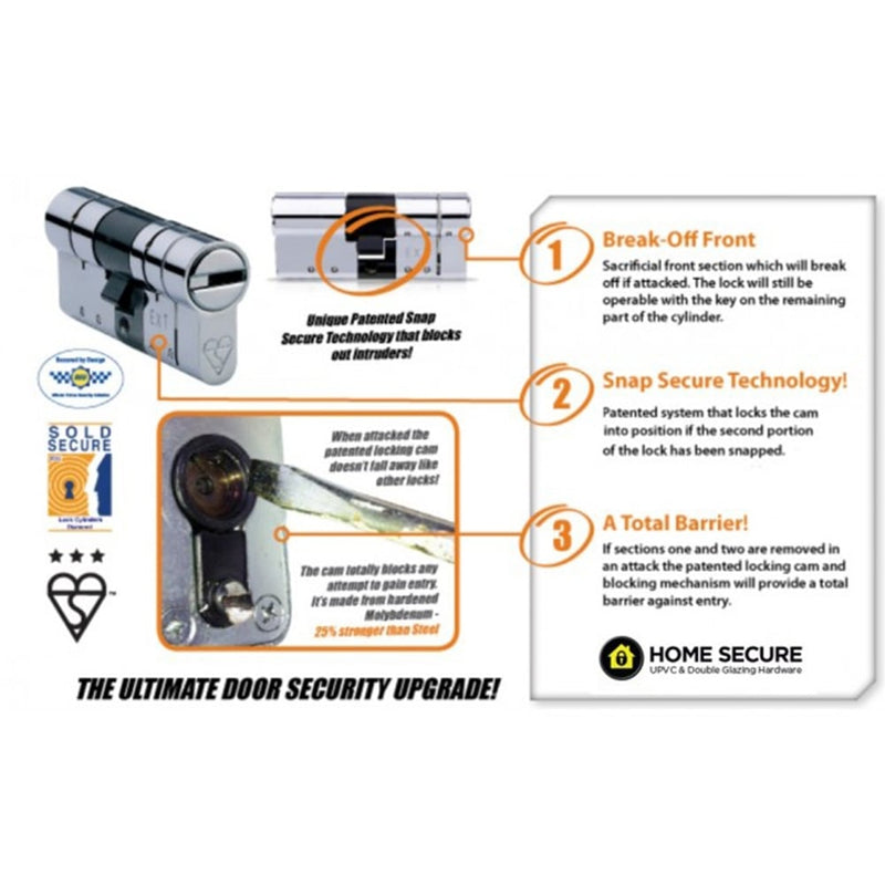 Avocet ABS High Security Half Euro Cylinder - Anti Snap Lock - TS007 3 Star (Built to Code)
