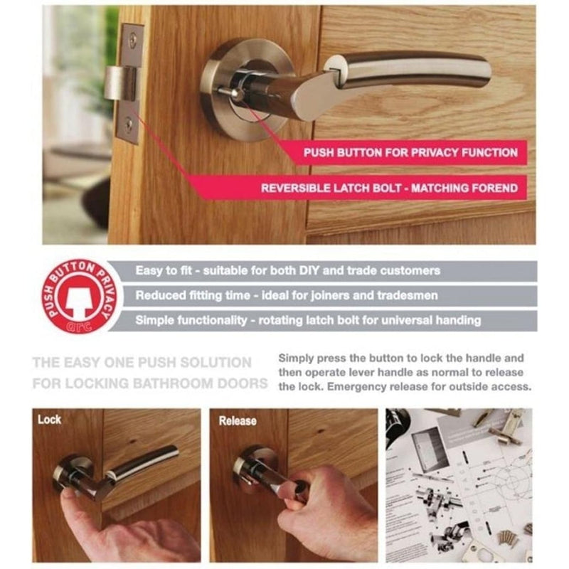 Internal Privacy Door Handle Pack. Handles, Hinges, Latch PBX2010-PRV