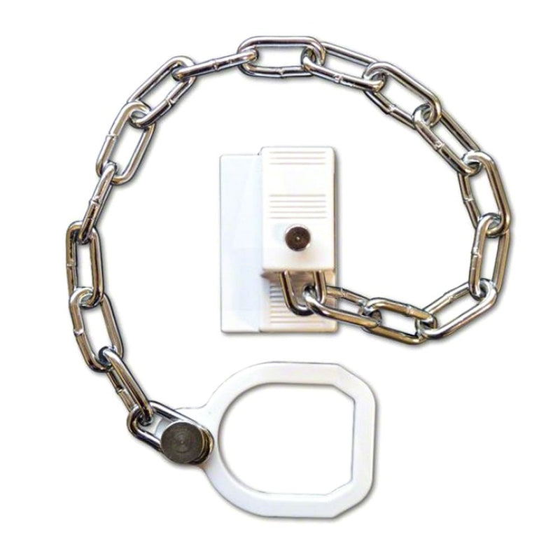 Door Chain Restrictor With Ring - Suitable All Door Types uPVC, Timber - White