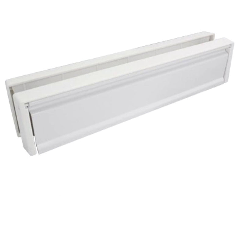 UPVC Door Letterbox Anti Snap - White (White Surround)