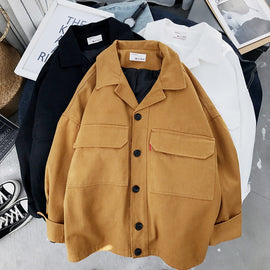 Mooirue Spring Loose Coat Woman Safari Korean Student BF With Pocket Turn-down Collar Black Yellow Cotton Jackets Tops Cardigan